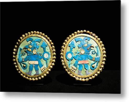 Artefact Metal Print featuring the photograph Gold Ear Ornaments, Moche Florescent by Tony Camacho