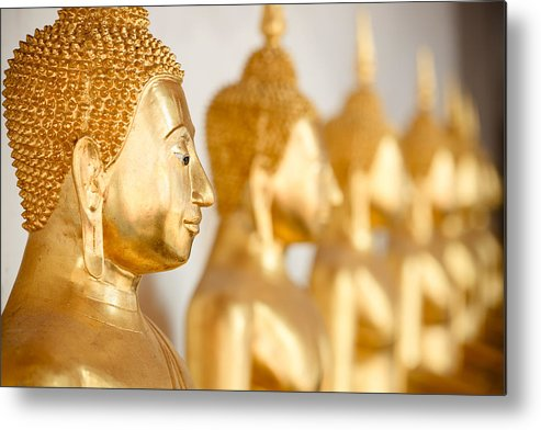 Horizontal Metal Print featuring the photograph Golden Buddha Statue by Fred Froese