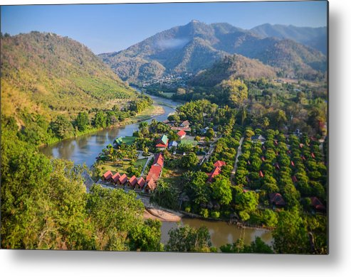 Horizontal Metal Print featuring the photograph Green And Mountainous Panorama In Nothern Thailand by Alexandre MOREAU