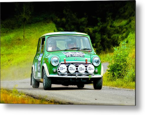Car Metal Print featuring the photograph Green Mini Innocenti by Alain De Maximy