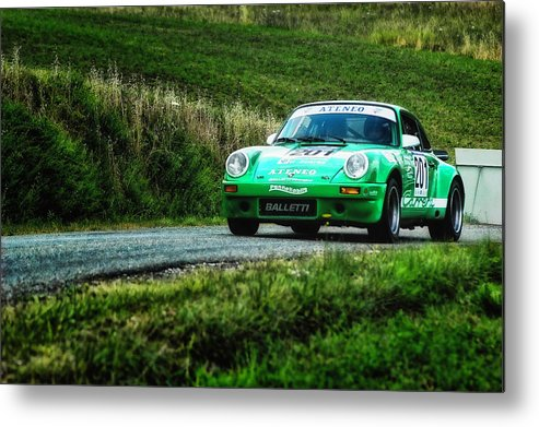 Car Metal Print featuring the photograph Green Porsche by Alain De Maximy