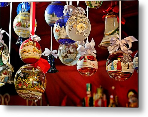 Holidays Metal Print featuring the photograph Handcrafted Mouth Blown Christmas Glass Balls by Christine Till