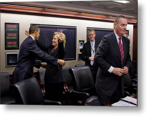 History Metal Print featuring the photograph Hillary Clinton Joyfully Congratulates by Everett