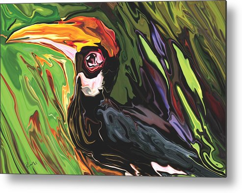 Animal Metal Print featuring the painting Hornbill by Rabi Khan