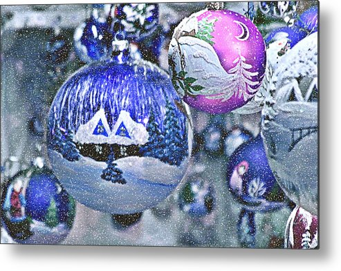 Glass Balls Metal Print featuring the photograph Hung With Love by Christine Till