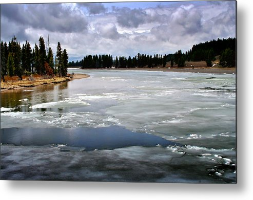 River Metal Print featuring the photograph Ice On The Yellowstone River by Ellen Heaverlo