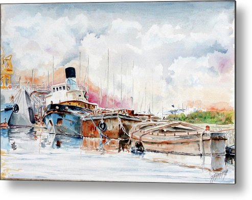 Watercolor Metal Print featuring the painting In Attesa Oltre Il Canale by Giovanni Marco Sassu