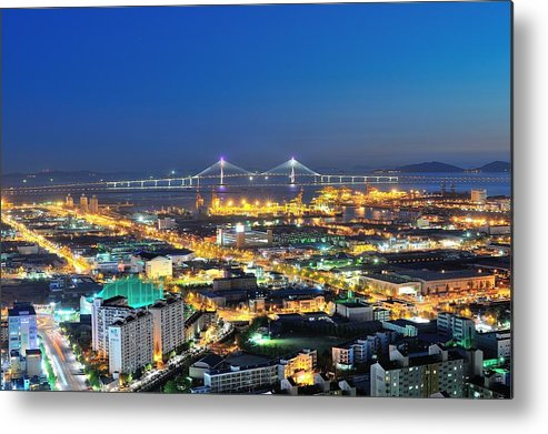 Horizontal Metal Print featuring the photograph Incheon City by Tokism