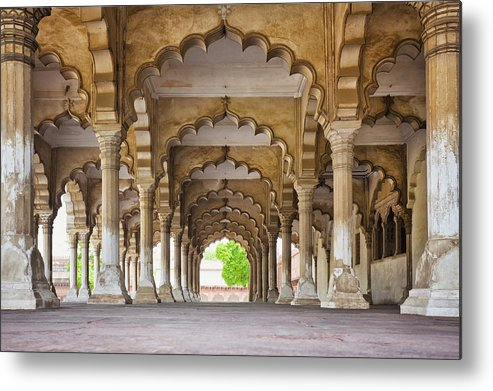 Horizontal Metal Print featuring the photograph India, Uttar Pradesh, Agra, Agra Fort, Hall Of Public Audience by Bryan Mullennix