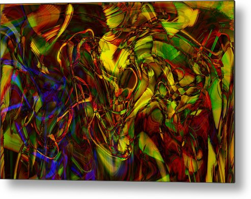 Abstract Metal Print featuring the digital art Injections by Linda Sannuti