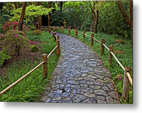 Japanese Tea Garden Path Metal Print featuring the photograph Japanese Tea Garden Path by Garry Gay