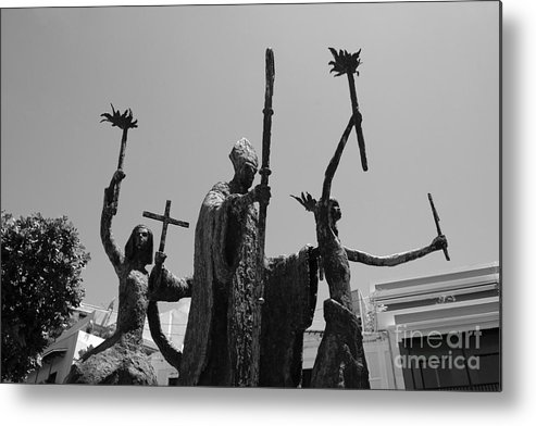 Old San Juan Metal Print featuring the photograph La Rogativa Statue Old San Juan Puerto Rico Black And White by Shawn O'Brien
