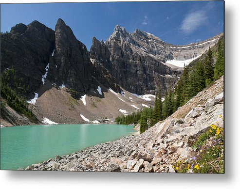 Horizontal Metal Print featuring the photograph Lake Agnes And Mt Whyte by Marc Shandro