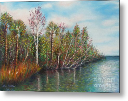 Lake Griffin Art Metal Print featuring the pastel Lake Griffin by Gabriela Valencia