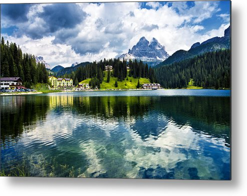 Horizontal Metal Print featuring the photograph Lake Misurina - Dolomites, Italy by Ghetu Daniel