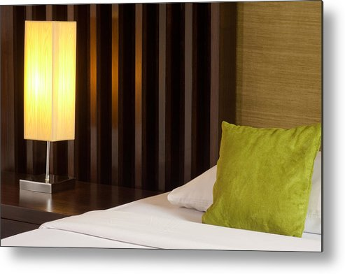 Hotel Metal Print featuring the photograph Lamp And Bed by Atiketta Sangasaeng