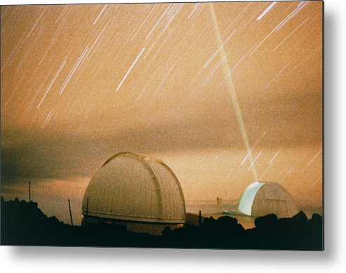 Crustal Geodynamics Metal Print featuring the photograph Laser Beam Fired Into The Night Sky by Nasa
