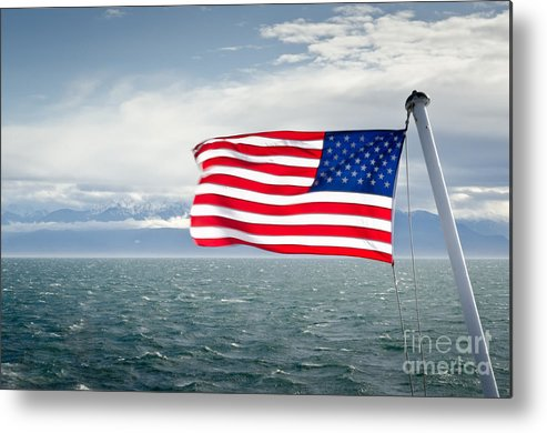 Flag Metal Print featuring the photograph Leaving The Olympics Stars And Stripes On The Straits From The Olympic Mountains by Andy Smy