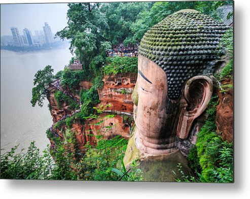 Horizontal Metal Print featuring the photograph Leshan Giant Buddha by Feng Wei Photography