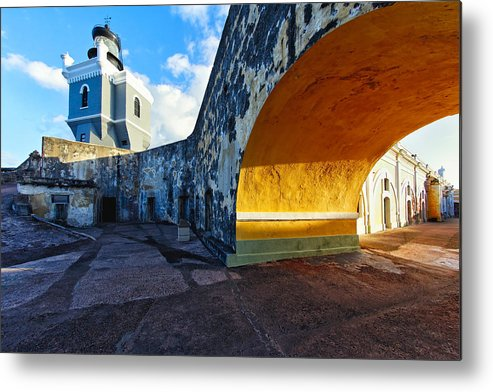 Architecture Metal Print featuring the photograph Lighthouse In Fort El Morro by George Oze