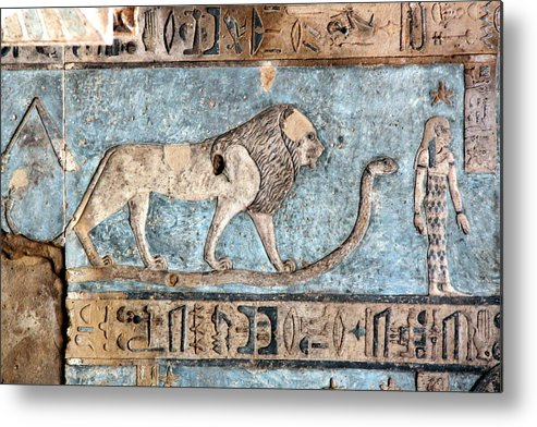 Horizontal Metal Print featuring the photograph Lion At Dendera, Egypt by Joe & Clair Carnegie / Libyan Soup
