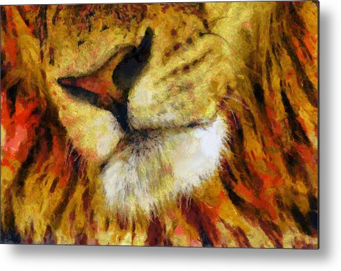 Lion Metal Print featuring the painting Lion's Mouth by Christopher Lane