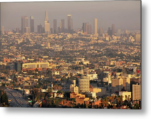 Horizontal Metal Print featuring the photograph Los Angeles Skyline by Photo by Seattle Dredge