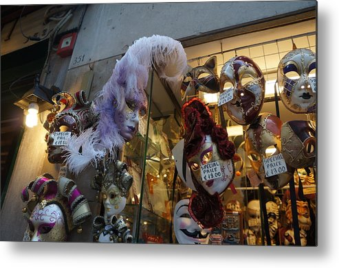 Masks Metal Print featuring the photograph Masks In Venice by Cyndi Cates