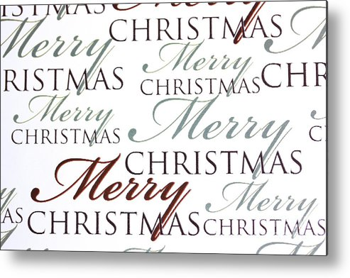 Merry Metal Print featuring the photograph Merry Christmas Words by Simon Bratt Photography LRPS