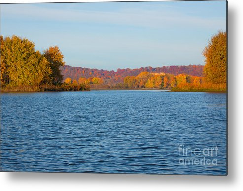 Mississippi River Fall Metal Print featuring the pyrography Mississippi River Fall by Dave Tackett