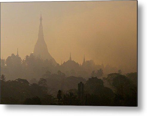 Horizontal Metal Print featuring the photograph Misty Morning Shwedagon by Jim Simmen