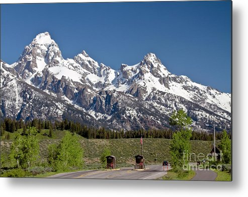 Grand Tetons Metal Print featuring the photograph Moose Entrance Station Grand Teton National Park by Rodney Cammauf