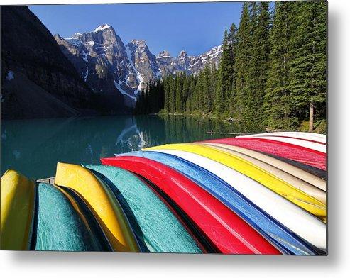 Horizontal Metal Print featuring the photograph Moraine, Lake, Banff Nationalpark, Alberta by Hans-Peter Merten