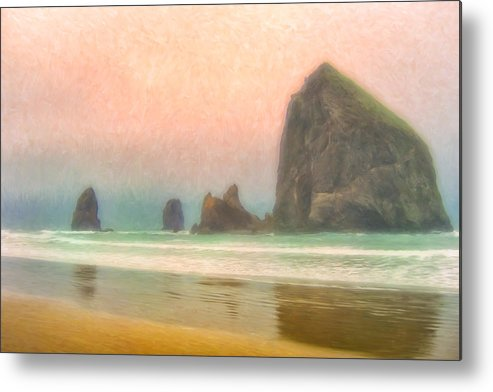 Morning Metal Print featuring the painting Morning Mist At Haystack Rock by Dominic Piperata