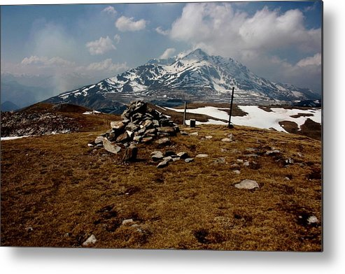 Pyrenees Mountain Hiking Blue White Fields Rock Spring Cairns Metal Print featuring the photograph Mount St Barthelemy by Frederic Vigne