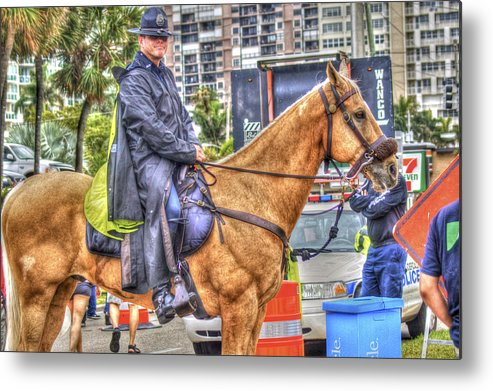 Mounted Police Metal Print featuring the photograph Mounted Police by Dieter Lesche