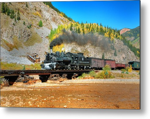 Steam Train Photographs Metal Print featuring the photograph Narrow Gauge Colors In Silverton by Ken Smith