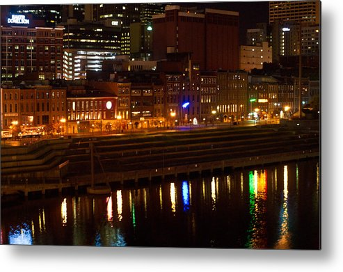 Nashville Metal Print featuring the photograph Nashville River Front By Night 1 by Douglas Barnett