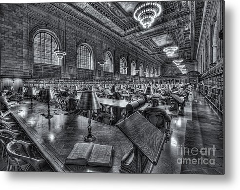 Clarence Holmes Metal Print featuring the photograph New York Public Library Main Reading Room Vi by Clarence Holmes