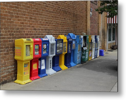 Newspaper Boxes Metal Print featuring the photograph Newspaper Boxes by Bob Whitt