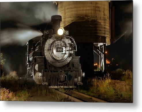 Steam Train Photographs Metal Print featuring the photograph Night At The Water Tower by Ken Smith