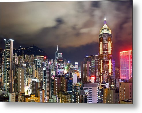 Horizontal Metal Print featuring the photograph Night View Of Hong Kong Island by Lars Ruecker