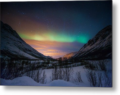 Horizontal Metal Print featuring the photograph Northern Lights In Snow Valley by Coolbiere Photograph
