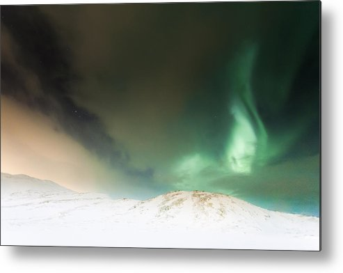 Horizontal Metal Print featuring the photograph Northern Lights In Tromso by Ian Gethings