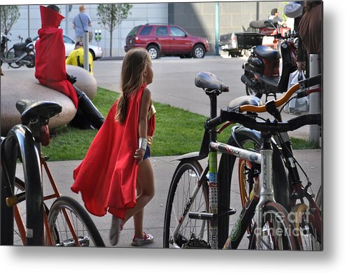 Supergirl Metal Print featuring the photograph Off To Save The World- Back By Naptime by Anjanette Douglas