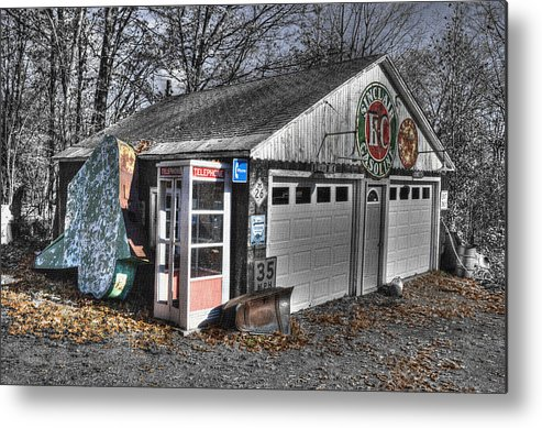 Color On B&w Metal Print featuring the photograph Old Gas Station Signs And A Soon To Be Outdated Phone Booth by Janice Adomeit