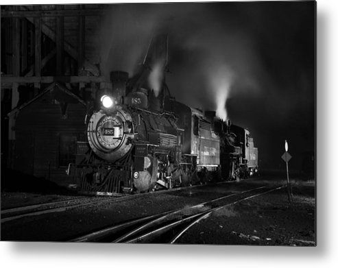 Steam Train Photographs Metal Print featuring the photograph Our Best Side Black And White by Ken Smith