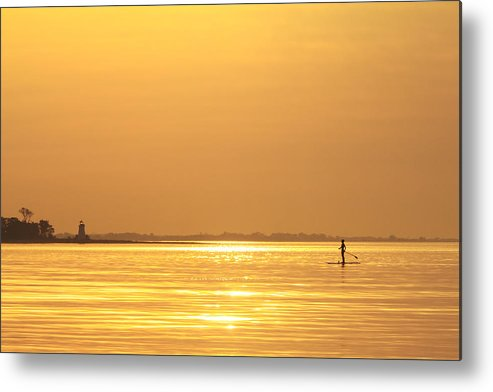 Paddleboard Metal Print featuring the photograph Paddle Boarder At Dawn by Stephanie McDowell