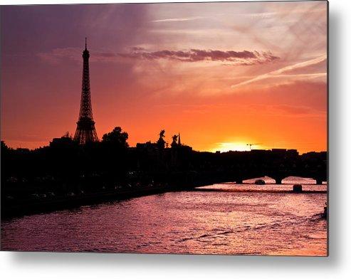 Ancient Metal Print featuring the photograph Paris Sunset by Mircea Costina Photography