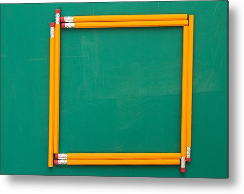 Horizontal Metal Print featuring the photograph Pencils Framing An Area Of Chalkboard by Jon Schulte